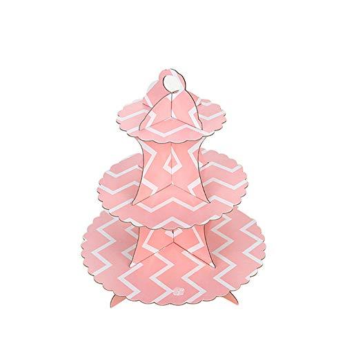 msyou 3Etagen Cupcake-Ständer rund gestapelt Kuchen Muffin Display Lebensmittel Ständer aus Karton für Hochzeiten Geburtstag Halloween Weihnachten Party (Pink)
