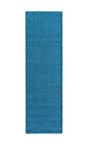 A2Z RUG SOFT SUPER THICK SHAGGY RUGS Blue 230X60 CM - 7.5X2 FT RUNNER AVAILABLE IN 6 COLOURS AND 8 SIZES AREA