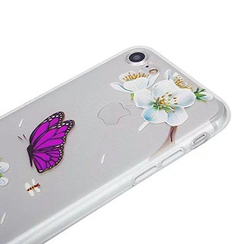 Etsue Coque Housse pour [iPhone 6 Plus/6S Plus] Case ,Joli Imprimé Peint énergie Papillon Motif Design Anti-Scratch Protector Coque de Téléphone pour iPhone 6 Plus/6S Plus Transparente Ultra Mince Sup Papillon pourpre,fleur blanc