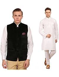 WINTAGE Herren-Packung aus Baumwolle Weiß Kurta Pajama & Velvet Nehru Jacke: Sieben Farben