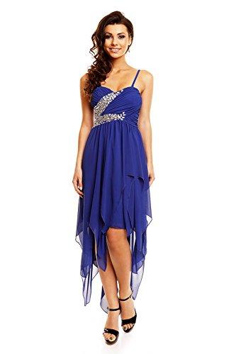 Abiballkleid vorne kurz hinten lang Vokuhila Maxi Abend Cocktail Kleid mit Schleppe Strass blau M