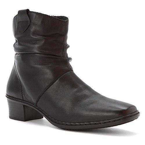 Rieker Kendra 63 Damen Eckig Leder Mode-Stiefeletten Black