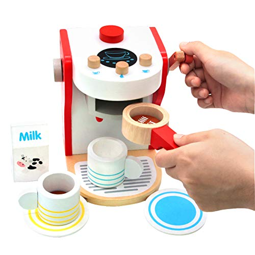 yoptote Kitchen Wooden Coffee Machine Maker Toy Set Role�Play�Kitchen�Accessories�Presents Educational�Toys�for�3 4 5�Years�Old