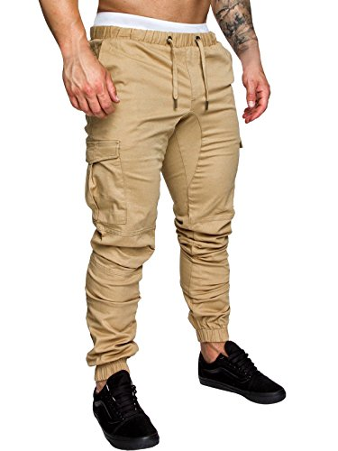 Cindeyar Uomo Pantaloni Lunghi Cargo con Coulisse Tasche Laterali Trousers della di Sport Pants Elastici Casual Maschi (Cachi, XXXL)