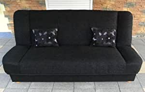 Black Sofa Bed Maddy with bedding place and 'click-clak' mechanism. Any colors