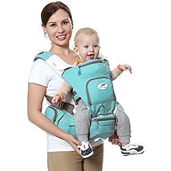 Portabebés multifuncional 8 en 1 con asiento de cadera y canguro. El mejor y más suave portabebés para posición frontal y trasera / bebé de frente o de espaldas - Hacia adelante y hacia afuera para bebés y niños pequeños de entre 3 y 36 meses, Verde Claro