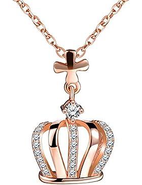 Yumilok Roségold 925 Sterling Silber Zirkonia Kreuz Krone Anhänger Halskette Verstellbare Kette mit Anhänger für...