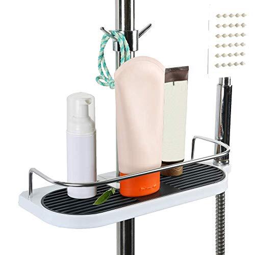 Badezimmer-Duschregal, Hänge-Duschregal, Aluminium, Duschregal, Organizer mit 2 Haken, Ständer für Seife, Shampoo, ohne Bohren an der Wand montiert, 19 mm - 25 mm Stange, Weiß