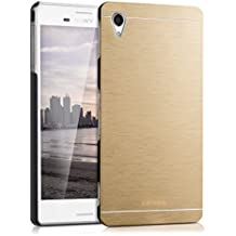 kwmobile Funda para Sony Xperia M4 Aqua - Cover trasero para móvil de aluminio - Case duro oro