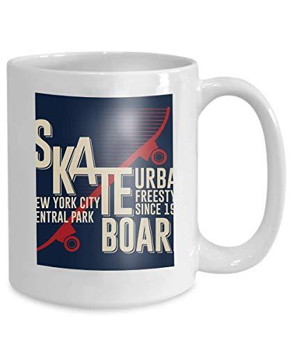Mug Coffee Tea Cup Skateboarding New York Graphic Design Skateboarding Graphic Apparel Design Freestyle New York City Skate Board 110z
