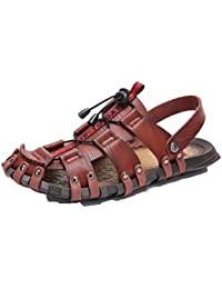 868be6f9147f Hombres Sandalias Zapatillas Antideslizantes elástico Suave Suela Plana Cuero  Casual Zapatos de Verano Ropa de Playa