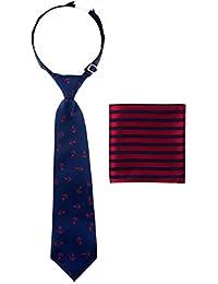 canacana Classic Anchor PRE-TIED Boy de corbata, diseño de rayas bolsillo cuadrado Set