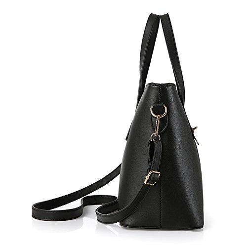 Young & Ming - Donna Borsa a spalla Borsa Tote Borsa a Mano in pelle Handbag Colore puro Bluchiaro