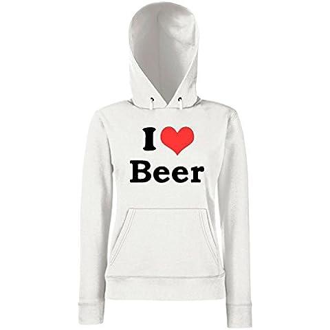 Cotton Island - Felpa Donna Cappuccio TR0062 I Love Beer 25mm 1 Pin Badge Button Hen Night Stag Do Party Fun Novelty - Love Beer