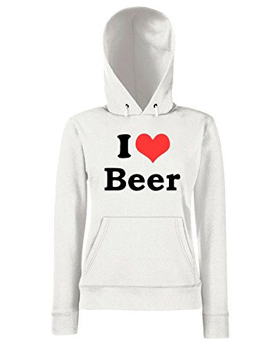 T-Shirtshock - Sweats a capuche Femme TR0062 I Love Beer 25mm 1 Pin Badge Button Hen Night Stag Do Party Fun Novelty Blanc