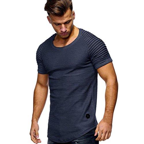 UFACE Kurzärmeliges, Gestreiftes Raglanärmel-T-Shirt mit Rundhalsausschnitt für Männer (M, Grau)