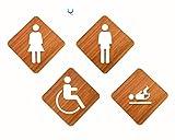 Signs | Set Rhombusform WC Toilettenschilder Mann, Frau, Barrierefreies Rollstuhlfahrer, Wickeltisch | 4 x Restroom Toilette WC - Toilettenschilder Individuell gestaltbare Schilder und Piktogramme für Türen, Räume, Restaurants, Geschäfte und Büros, Holztafel im Relief