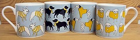 Best in Show pour chien collection par Graduate Collection Conçu par Katy Ferrari Lot de 4mugs Bleu sarcelle Version Chiens Mugs en porcelaine Conçu et fabriqué au Royaume-Uni
