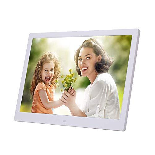 Elektronischer Bilderrahmen 15,4 Zoll Digitaler Bilderrahmen USB SD/SDHC Uhr- und Kalenderfunktion Digitaler Bilderrahmen mit Bewegungssensor,White
