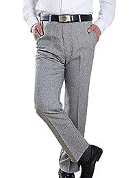 edd65f7f34acd BOZEVON Pantalones Casuales para Hombres - Mediana Edad Pantalones de  Negocios Recto