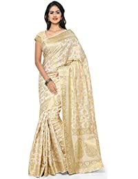Varkala Silk Sarees Women's Tussar Silk Kanchipuram Saree With Blouse Piece(ND1021CM_Cream_Free Size)