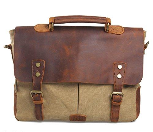 GAOXP Leinwand mit Leder Europa und Amerika Retro Messenger Bag Schulter Messenger Bag Portable BriefcaseGAOXP (Capacity : 1, Farbe : 5) - Europa-messenger Bag
