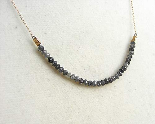 Graue Diamant Kette, 585 Echtgold,