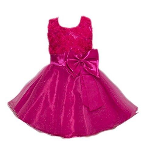 OverDose Kleinkind Baby Mädchen Bling Pailletten Ärmellos Brautjungfern Tutu Prinzessin Kleid Abendkleid Geburtstag Weihnachten Party Kleider(3T,Hot Pink)