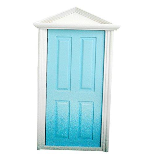 Scala 1/12 Porta In Legno A 4 Pannelli Con Chiave, Accessori Casa Delle Bambole In Miniatura, Blu