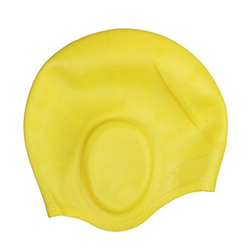 JTC Damen/Herren Badehaube Wasserdicht Silikon Badekappe Bademütze mit Gehörschutz Ohrenschutz (Gelb)