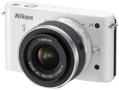 Nikon 1 J1 Systemkamera (10 Megapixel, 7,5 cm (3 Zoll) Display) weiß inkl 1 NIKKOR VR 10-30 mm Objektiv 10,1 Mp Cmos-sensor