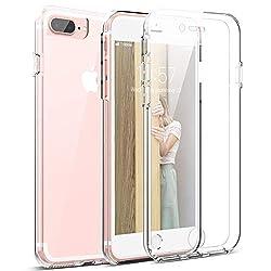 Mkej 360°Soft-Edition Transparent Schutzhülle kompatibel mit iPhone 7 Plus/ 8 Plus, 360 Grad Rundum Doppel-Schutz Cover [Vorne + Hinten geschützt] Silikon Crystal Hülle für iPhone 7 Plus/ 8 Plus