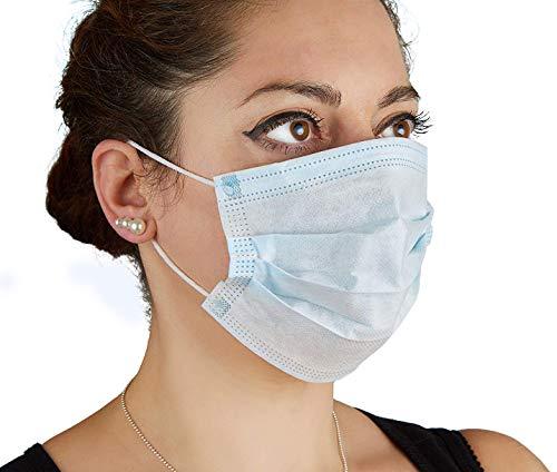 Cleaing Mundschutz Maske OP Blau 50 Stück 3-lagig mit Elastikband in Komfortlänge mit Nasenbügel Latexfrei