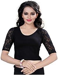 Fressia Fabrics Women'S Cotton Saree Blouse (Fba-Black Plain-Fs_Black_Free Size)