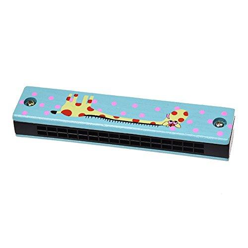 Mundharmonika - TOOGOO(R) Holz Giraffen Muster Dual Reihen 32 Loch Kinder Mundharmonika Harmonika Blau