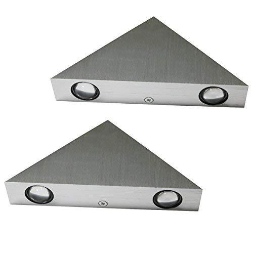 2 Stück Lamker 3W LED Wandleuchte Innen Moderne Energiesparende Wandlampe Aluminium Flurlampe Treppenleuchten für Treppenhaus Flur Korridor Wohnzimmer Schlafzimmer Eingangsflur Dreieck Sconce Warmeiß -