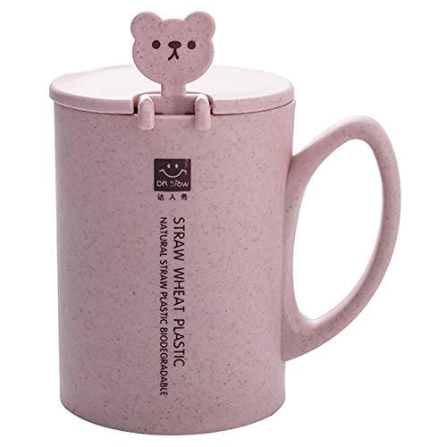 SODIAL 450Ml Weizen Stroh Becher Kunst Stoff Kaffee Tasse Tee Tasse Mit L?ffel Deckel Griff Sü?er B?r Becher Milch Glas Runde Wasser Tasse Kaffee Tasse