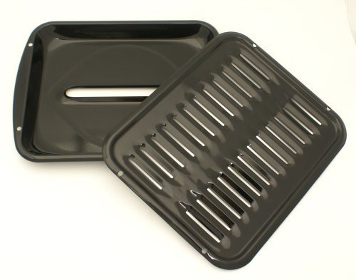 Porcelain Convection 12 7/8 by16.5 Inch Broiler Pan with Porcelain Grill by Range Kleen -