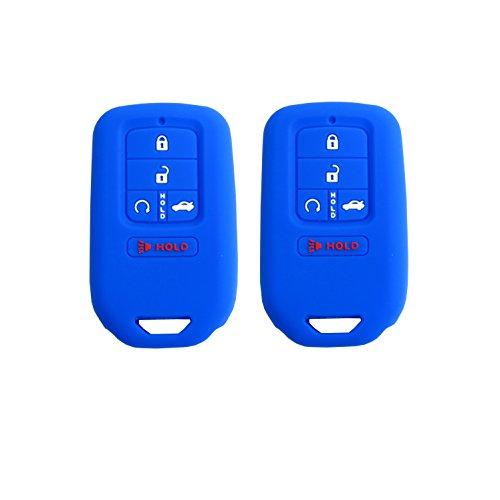 BAR Autotech Schlüsselgehäuse für Funkschlüssel aus Silikon, Gummi, passend für Honda Civic Accord Pilot CR-V 2015-2017 (1 Paar) F 2. Blue/Blue