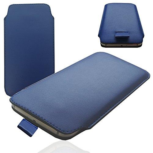 MOELECTRONIX MX BLAU Slim Cover Case Schutz Hülle Pull UP Etui Smartphone Tasche für HomTom HT5