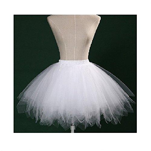 KOSHIYO Femmes Pettiskirt Tutu demi-glissement pour Party Ball Prom blanc