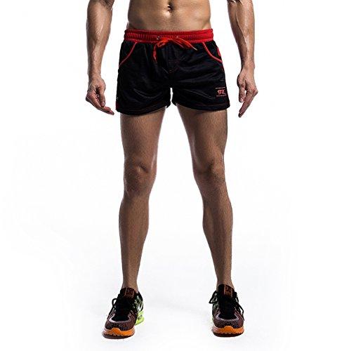 iEFiEL Herren Hose Shorts kurz Sporthose Atmungsaktiv Fitness Running Laufhose Shorts in schwarz weiß Schwarz XL (Tailleumfang: 84-108cm)