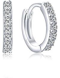 Creolen Silber 925, Kleine Damen Ohrringe aus 925 Sterling Silber Zirkonia Kristall, Ohrschmuck für Kinder Mädchen Frauen Geschenke für Valentinstag Geburtstag Hochzeit