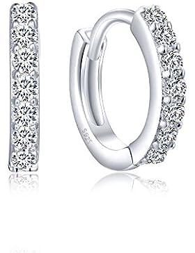 Creolen Silber 925, Kleine Damen Ohrringe aus 925 Sterling Silber Zirkonia Kristall, Ohrschmuck für Kinder Mädchen...
