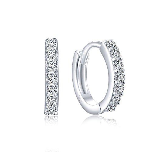 Creolen Silber 925, Kleine Damen Ohrringe aus 925 Sterling Silber Zirkonia Kristall, Ohrschmuck für Kinder Mädchen Frauen Geschenke für Valentinstag Geburtstag Hochzeit (Mädchen Für Silber-ohrringe)