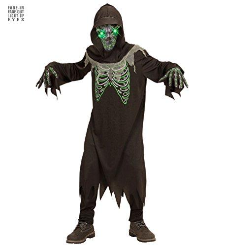 Karneval-Klamotten Sensenmann Kostüm Skelett für Kinder Der Tod mit Leuchtenden Augen Halloween Kinder-Kostüm Größe 158