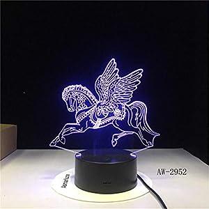 Wzadxy Lámpara 3D Unicornio Kawaii