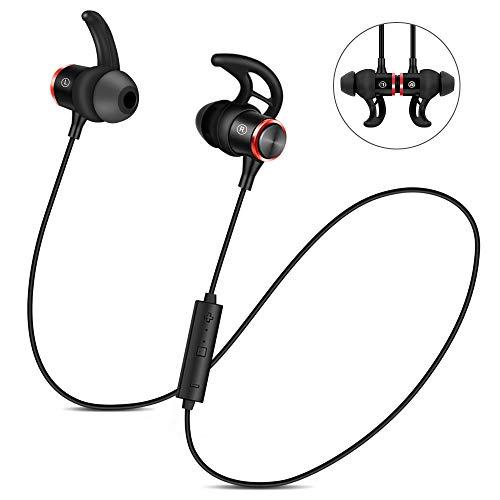 Nasharia Bluetooth Kopfhörer, 4.2 Sport Kopfhörer in-Ear Wireless Headset IPX5 Wasserdicht Level mit Magnet und Mikrofron für Alle Bluetooth-Gerät (Schwarz)