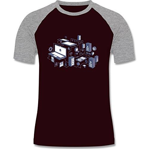 Nerds & Geeks - Netzwerk Design - zweifarbiges Baseballshirt für Männer Burgundrot/Grau meliert