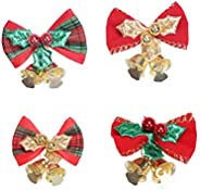 QUUPY 12Pcs Christmas Bow with Bells Christmas Tree Hanging Wreath Decorations Mini Bowknot Craft Gift Ornamen